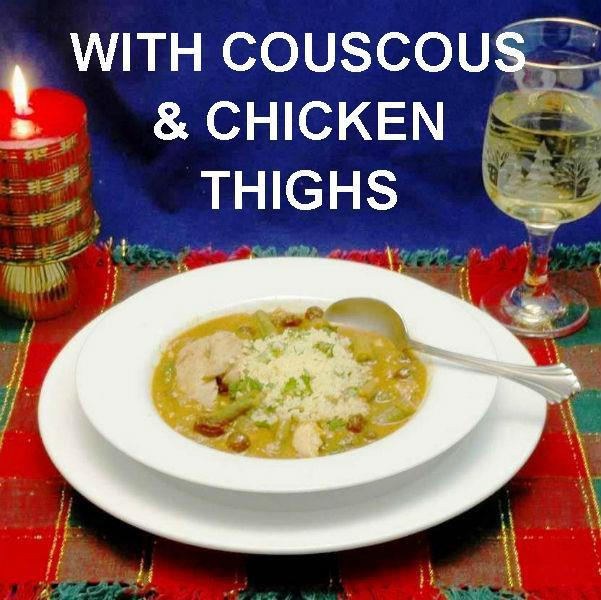 Moroccan Chicken Stew with Couscous, served with white wine Christmas