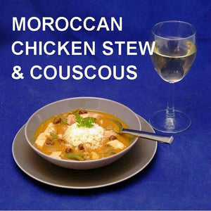 Moroccan Chicken Stew with Couscous, served with white wine