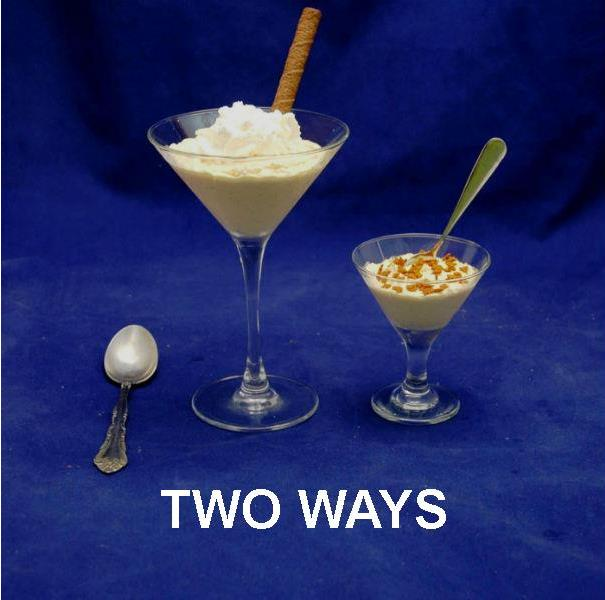 Pumpkin Mousse 2 ways in martini glasses, left topped with whipped cream, right garnished with cookie crumbs