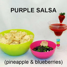 Load image into Gallery viewer, Purple Habanero Salsa (blueberries and crushed  pineapple) with scoop tortilla chips and frozen strawberry margarita Summer
