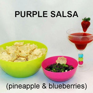 Purple Habanero Salsa (blueberries and crushed  pineapple) with scoop tortilla chips and frozen strawberry margarita Summer