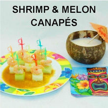 Load image into Gallery viewer, Shrimp & Melon Canapés with Queen of Sheba Vinaigrette Marinade and Dipping Sauce, served with pina coloda in coconut shell Summer