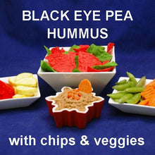 Load image into Gallery viewer, Spicy Queen of Sheba Black Eye Pea Hummus with fresh raw veggies and tortilla chips (red and green) Christmas