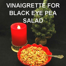 Load image into Gallery viewer, Black Eye Pea Salad with spicy Queen of Sheba Vinaigrette Dressing Christmas