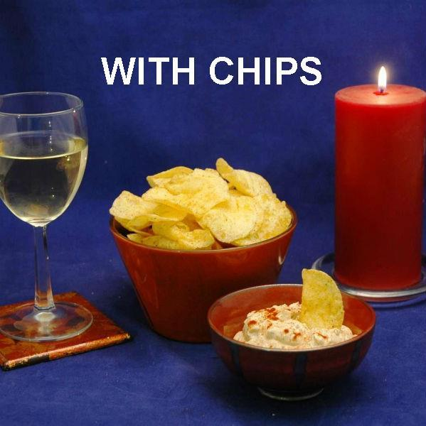 Spicy Queen of Sheba mayonnaise and sour cream chip dip served with white wine