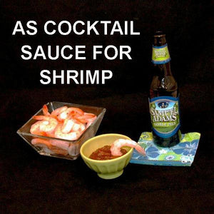 Steamed shrimp with Queen of Sheba Spicy Ketchup Cocktail Sauce, served with ale