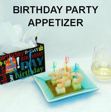 Load image into Gallery viewer, Birthday party appetizer, Shrimp & Melon Canapés with Queen of Sheba Vinaigrette Marinade and Dipping Sauce
