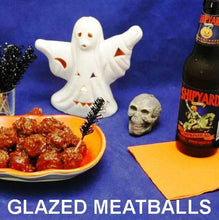 Load image into Gallery viewer, Queen of Sheba Spiced Ketchup Glazed Meatballs with pumpkin ale Hallow