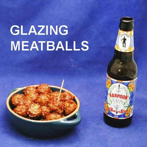Queen of Sheba Spicy Ketchup Glazed Meatballs with IPA ale