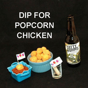 Popcorn Chicken with Queen of Sheba Spicy Ketchup,servd with IPA ale