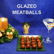 Load image into Gallery viewer, Spicy Queen of Sheba Spicy Ketchup Glazed Meatballs with martinis Christmas