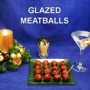 Spicy Queen of Sheba Spicy Ketchup Glazed Meatballs with martinis Christmas