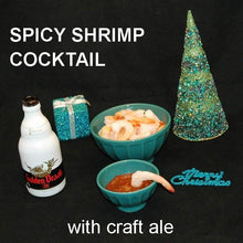 Load image into Gallery viewer, Steamed shrimp with Queen of Sheba Spiced Ketchup Cocktail Sauce, served with Gulden Draak ale Christmas