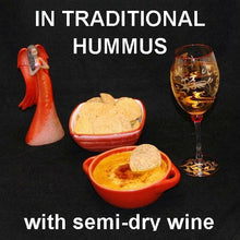 Load image into Gallery viewer, Spicy Queen of Sheba Hummus with falafel chips and white wine Christmas