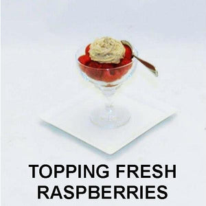Raspberry Chocolate Mousse topping fresh raspberries