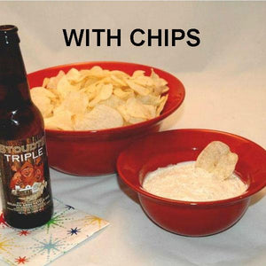 Raspberry Horseradish mayonnaise and sour cream chip dip served with ale