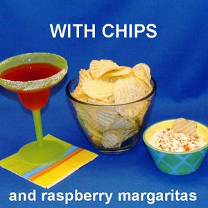 Raspberry Horseradish mayonnaise and sour cream chip dip served with raspberry margarita Summer