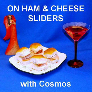 Ham sliders with Raspberry Horseradish spread, served with a Cosmo Christmas