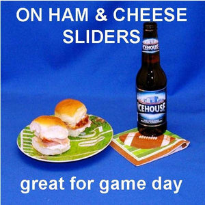 Ham sliders with Raspberry Horseradish spread, served with Icehouse beer Football
