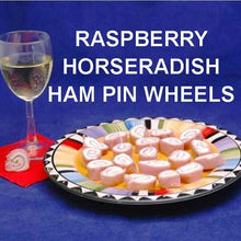 Load image into Gallery viewer, Ham and Raspberry Horseradish Cream Cheese Pin Wheels served with white wine