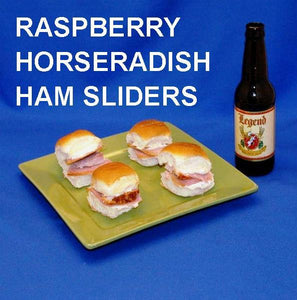 Ham sliders with Raspberry Horseradish spread, served with ale