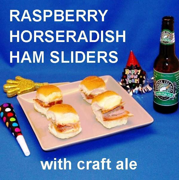 Ham and cheese sliders with Raspberry Horseradish spread, served with IPA ale New Year's