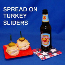 Load image into Gallery viewer, Ham sliders with Raspberry Horseradish spread, served with summer ale July 4th