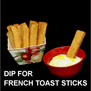 French toast stick dipped in Raspberry Lemon Mousse Fall