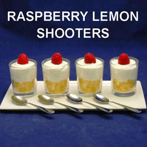 Raspberry Lemon Shooters, with Raspberry Lemon Mousse and lemon pound cake, garnished with fresh raspberries
