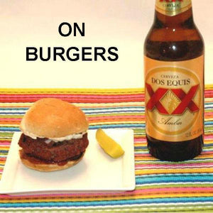 Burger slider with Rio Grande Spicy Ketchup, served with Mexican beer