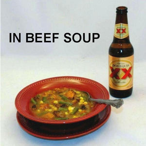 Rio Grande Soup with beef cubes, sweet potatoes, corn, onions and green beans, served with Mexical beer