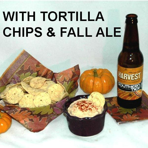 Spicy Rio Grande mayonnaise and sour cream dip, with tortilla chips and fall ale
