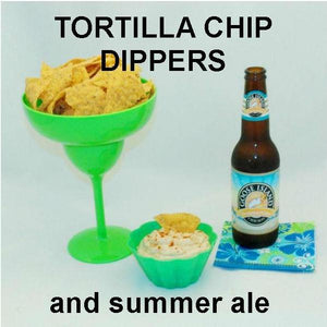 Spicy Rio Grande mayonnaise and sour cream dip with tortilla chips and Summer ale