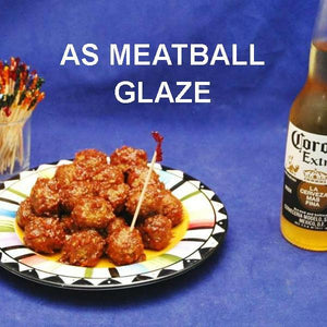 Rio Grande Spicy Ketchup Glazed Meatballs with Mexican beer