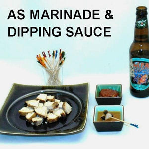 Rio Grande Vinaigrette Marinated Grilled Chicken with Marinade and Rio Grande Spicy Ketchup for dipping, served with IPA ale