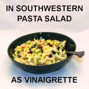 Pasta Salad with chicken, corn, black beans, red peppers, green onions and Rio Grande Vinaigrette Dressing