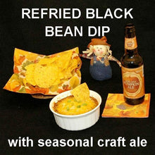 Load image into Gallery viewer, Rio Grande Refried Black Bean Hot Dip with tortilla chips and seasonal fall craft ale