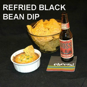 Rio Grande Refried Black Bean Dip and tortilla chips served with ale