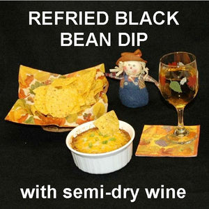 Rio Grande Refried Black Bean Dip with tortilla chips and white wine Fall
