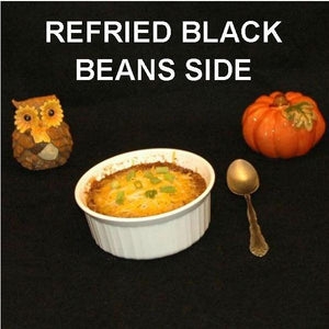 Spicy Rio Grande Refried Black Beans, garnished with melted cheddar cheese, side dish Fall