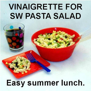 Pasta Salad with chicken, corn, black beans, red peppers, green onions and spicy Rio Grande Vinaigrette Dressing Summer