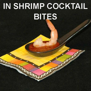 Steamed shrimp with Rio Grand Spiced Ketchup Cocktail Sauce, served in tasting spoon