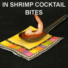 Load image into Gallery viewer, Steamed shrimp with Rio Grand Spiced Ketchup Cocktail Sauce, served in tasting spoon