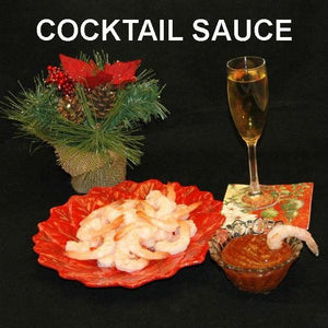 Rio Grand Shrimp Cocktail, served with semi-dry blush wine Christmas
