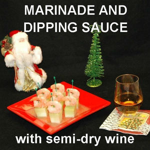 Shrimp and Melon Canapés with spicy Rio Grande Vinaigrette Marinade and Dipping Sauce, served with white wine Christmas
