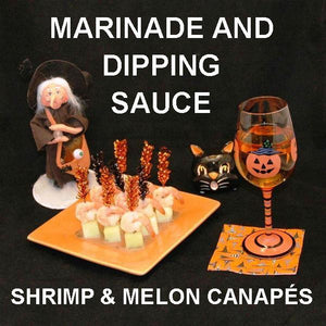 Shrimp and Melon Canapés with Rio Grande Vinaigrette Marinade and Dipping Sauce, served with white wine Hallow
