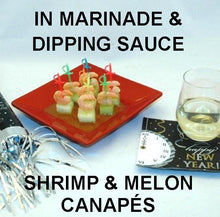 Load image into Gallery viewer, Shrimp and Melon Canapés with spicy Rio Grande Vinaigrette Marinade and Dipping Sauce, served with white wine New Year's