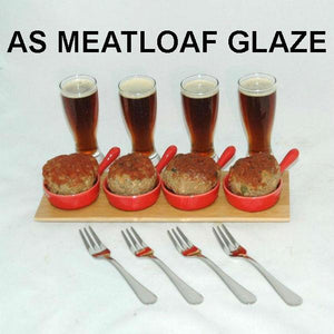 Rio Grande Spiced Ketchup Glazed Mini Meatloaves in tasting skillets with brown ale in tastng beer glasses