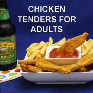 Chicken Tenders and fries with Rio Grande Spicy Ketchup for dipping, served with IPA ale