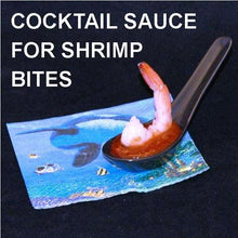 Load image into Gallery viewer, Steamed shrimp with Rio Grand Spiced Ketchup Cocktail Sauce, served in tasting spoon Summer